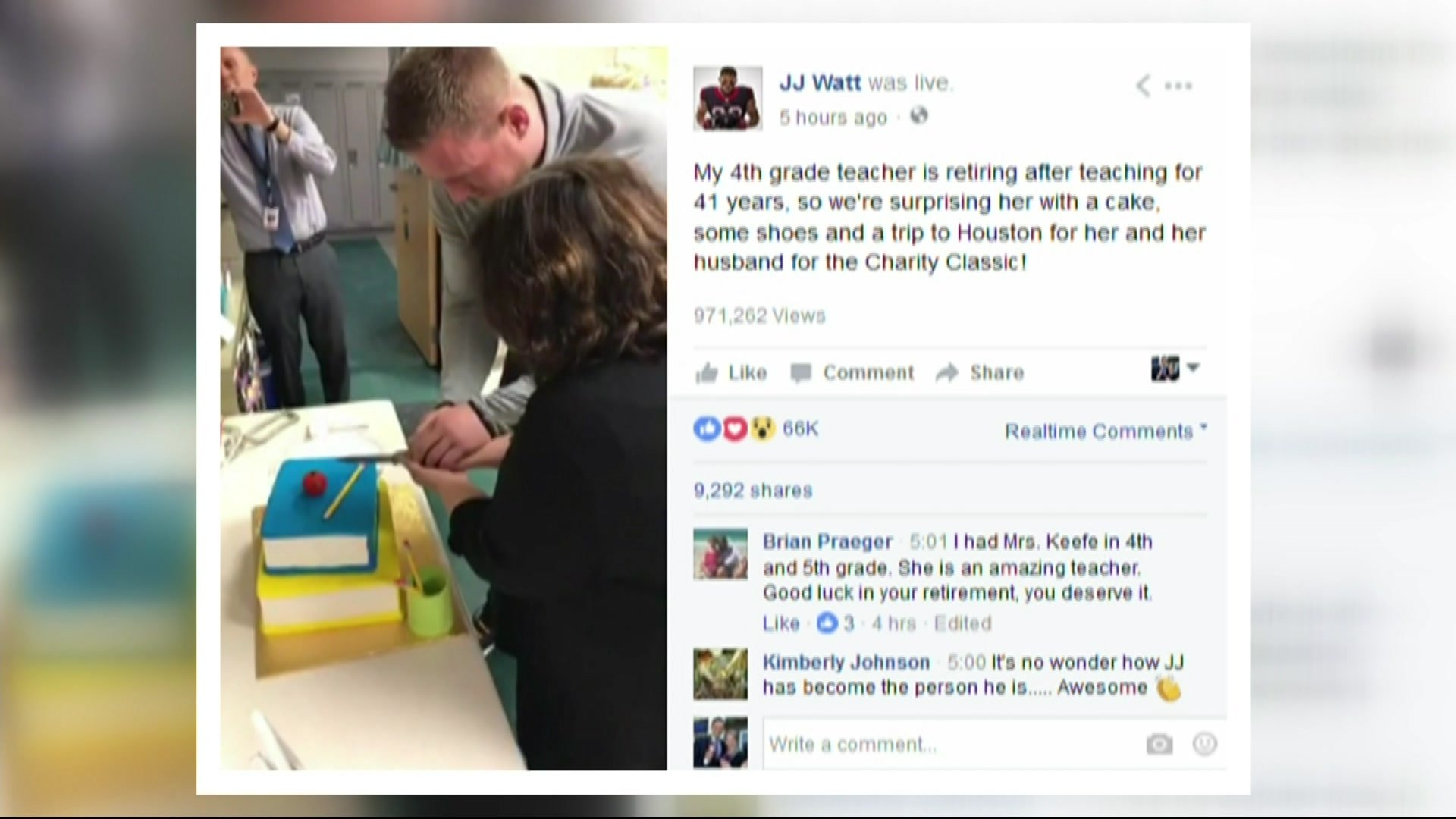 JJ Watt Surprises His 4th Grade Teacher, Gives Her Retirement Gifts