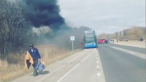 MegaBus catches fire in Lake Forest