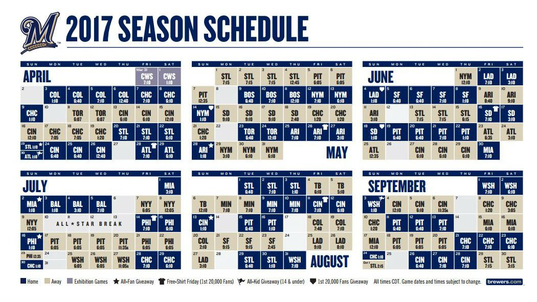 Smart image pertaining to brewers schedule printable